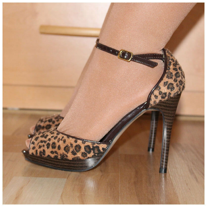Pleaser Sandaletten Gr. 36 / US6 High Heels Bliss 33 in Leo-Optik (#2171)