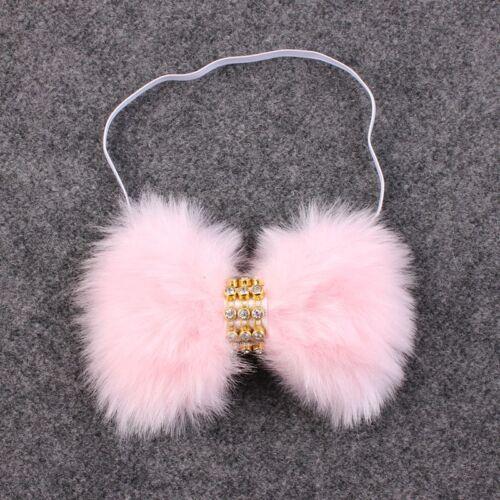 Baby Girl Winter White Large Faux Rabbit Fur Bow Rhinestone Headband 0-12 MONTHS
