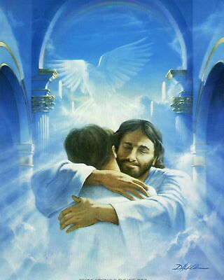 """WELCOME HOME Jesus hugging man 8"""" x 10"""" PRINT ready to be framed 