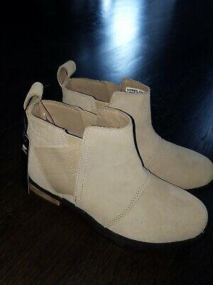 Sorel Womens Emelie Chelsea Ankle Boots Waterproof Suede Leather Oatmeal