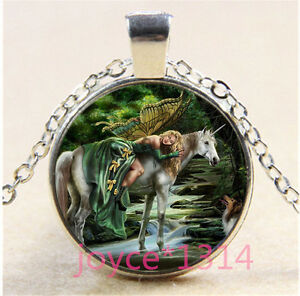 Unicorn-And-Butterfly-fairy-Cabochon-silver-Glass-Chain-Pendant-Necklace-XP-1274