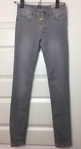 All-Saints-Womens-Gray-Track-Low-Rise-Zip-Skinny-Fit-Denim-Stretch-Jeans-Size-25