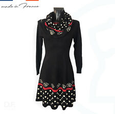 Kleid *Made in France* Paris 2-teilig mit Schal Loop Paris Blumen Herbst Winter