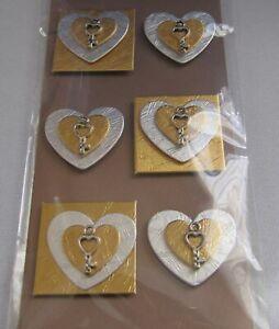 Sticker-Klebemotiv-Herzen-gold-Hobby-Basteln-Dekoration-Karten-Alben-Dekoration