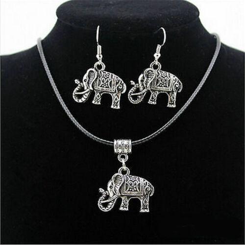 Style chinois Éléphant Collier Pendentif Boucle d/'oreille crochet Bijoux Set Tibet Argent