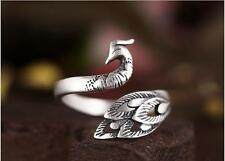 Peacock Adjustable .925 Sterling Silver Bird Feather Ring Size 5 to 8