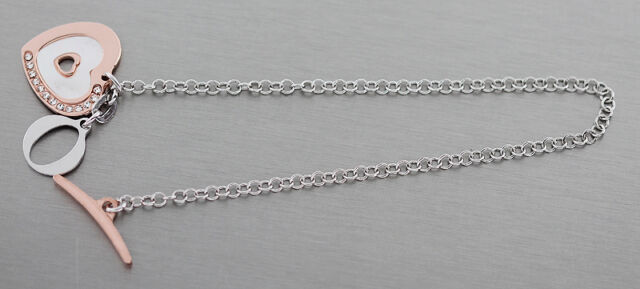 Silberarmband 925 Rotgoldherz mit Perlmutt Armband Silber mit Anhänger Armkette