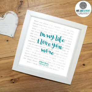 The-Beatles-In-My-Life-Song-Words-LYRICS-print-Personalised-Anniversary-Gift