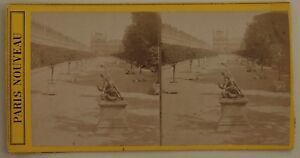 Parigi-Giardino-Dei-Tuileries-Francia-Foto-Stereo-L44-Vintage-Albumina-c1870