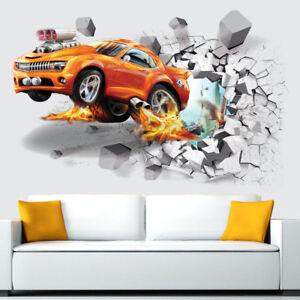 3D-Super-Voiture-fissure-Mur-Autocollants-Enfants-Chambre-Decalques-Amovible-Home-Decor