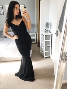 Quiz-Sequin-Lace-Black-Maxi-Evening-Dress-Bridesmaid-Prom-Ballgown-Womens-Size