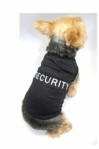BLACK SECURITY COTTON TANK TOP T-SHIRT COSTUME FOR SMALL PET DOG PUPPY CAT XXS-L