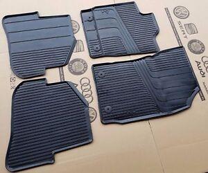 4PCE UNIVERSAL CAR FLOOR MATS BLACK WITH BLUE TRIM FOR AUDI A1 SPORTBACK