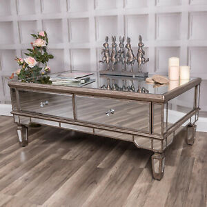 Sensational Details About Large Champagne Gold Mirrored Coffee Table Unit Glass Venetian Home Furniture Dailytribune Chair Design For Home Dailytribuneorg