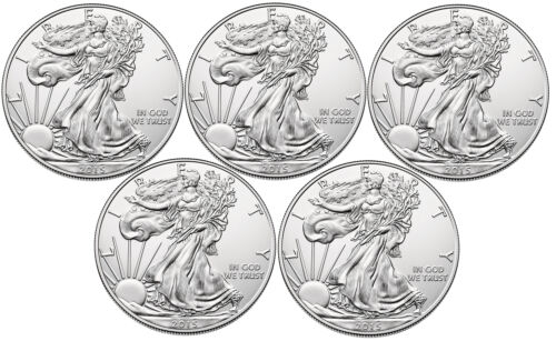Lot of 5-2015 $1 1oz Silver American Eagle BU