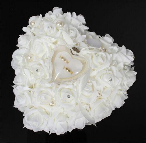 Bride Wedding Favors Heart Shaped Design Gift Ring Box Pillow Cushion Holder Dec