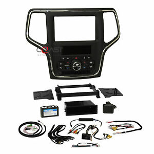 Car Stereo Dash Kit w Integrated Climate Controls For 14-20 Jeep Grand Cherokee