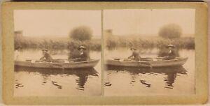 Trois-Femmes-Nel-Una-Barca-Artistico-Foto-Stereo-Vintage-Citrato-c1900