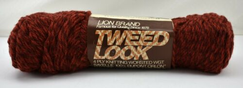 Vintage Lion Brand Tweed Look Worsted Yarn 1 Skein Terra Cotta Tweed