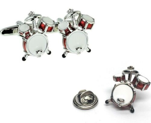 Red Drum Kit 3D Design Cufflink and Lapel Pin Set Cufflinks /& Lapel Pin Bundle