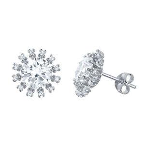 7MM BY 7MM FLOWER DESIGN STUD EARRINGS W// LAB DIAMONDS// 925 STERLING SILVER