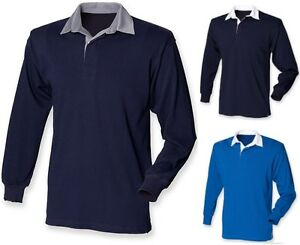 3eccca2e78 Plain NAVY MID ROYAL DARK BLUE Long Sleeve Rugby Shirt No Logo