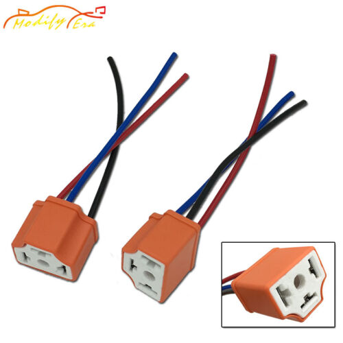 2pcs H4 Ceramic Female Adapter Wiring Harness Sockets Wire For Headlights