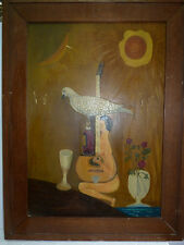 """South American Artist Painting MM/B, """"Woman, Guitar, Wine and Dove"""" 63 x 44.5 cm"""