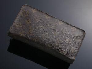 G7597-Authentic-Louis-Vuitton-Monogram-Zip-Around-Long-Wallet-Defect