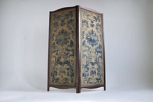 Details About Antique 2 Panel Folding Screen Hardwood Room Divider Chinese Victorian Qing