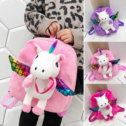 Girls Cute Unicorn with Plush Wing Backpack Kids School Rucksack Bag Household