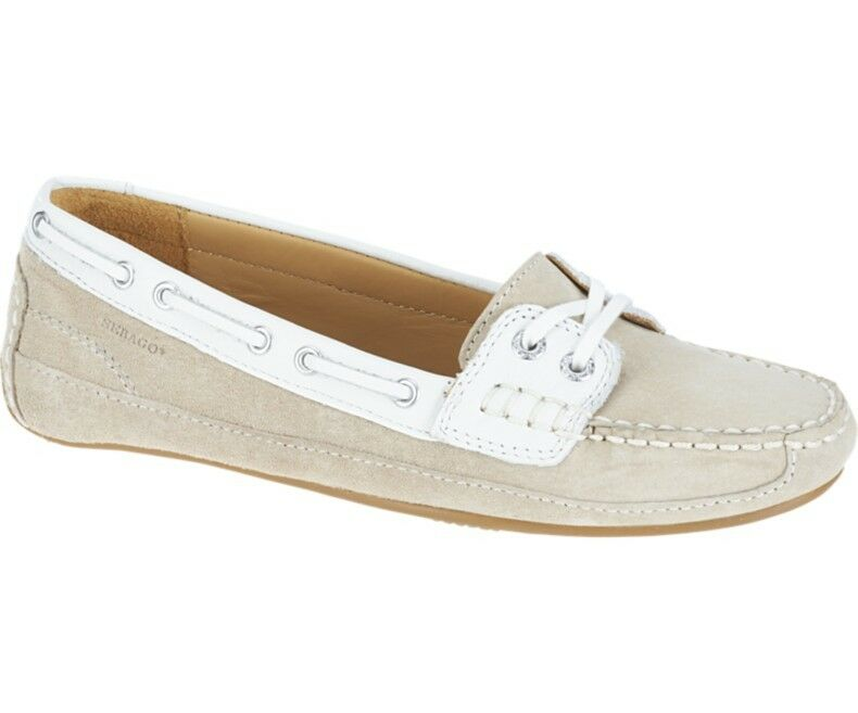 Sebago Bala Women's Deck Boat shoes Taupe Suede White B61061CL NEW