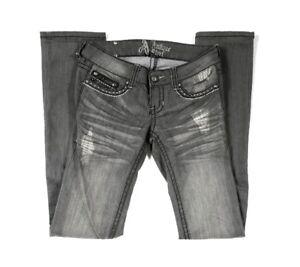 Antique-Rivet-Jeans-Size-25-Gray-Distressed-Embellished-Pockets-Straight-Leg