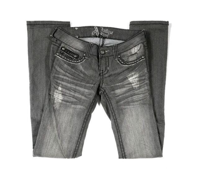 Antique Rivet Jeans Size 25 Gray Distressed Embellished Pockets Straight Leg