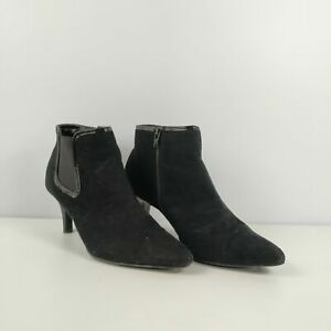 WOMENS-MARKS-SPENCER-M-amp-S-BLACK-SIDE-ZIP-HEEL-ANKLE-BOOTS-UK-7-5-EU-41-5