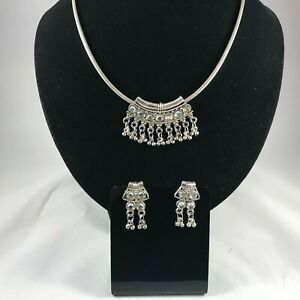 Handmade Rustic Aztec Indian Silver and Zirconia Necklace & Earrings by Sunskar!