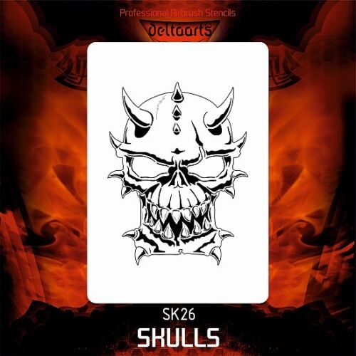 Airbrush stencil template DELTAARTS SKULL 26-3 SIZES AVAILABLE MID XL XXL