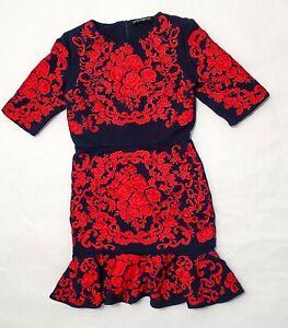 Women-039-s-Dolce-amp-Gabbana-Floral-Embroidered-Navy-Blue-Flounce-Hem-Dress-Med-8-44