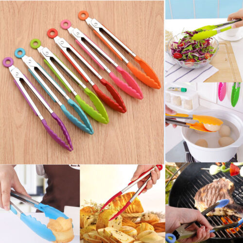 Handle Utensil Silicone Kitchen Cooking Serving Clip BBQ Tongs Steel AdtN