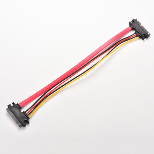 12/'/' Male to Female 7+15 Pin SATA Data HDD Power Combo Extend Extension Cable YN