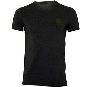 Versace-Iconic-V-Neck-Stretch-Cotton-Men-039-s-T-Shirt-Grey-Melange
