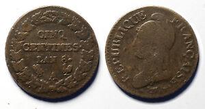 Cinq-Centimes-L-039-An-8-6-A-Inedite-et-rare