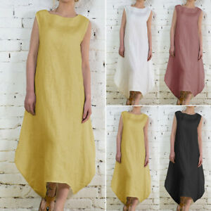 Women-Summer-Sleeveless-Loose-Linen-Long-Shirt-Dress-Boho-Beach-Party-Sundress