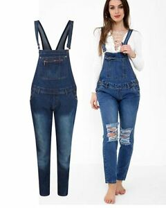 Details About Ladies Women Knee Ripped Denim Pinafore Dungaree Overall Playsuit Jumpsuit 8 16
