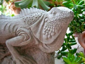Iguana-Statue-Concrete-Lizard-Figure-Cement-Reptile-Garden-Decor