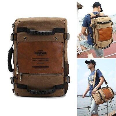Men's Vintage Canvas backpack Rucksack laptop shoulder bag travel Camping bag