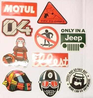 10 Pezzo Deriva Jeep Moto Motocross Benzina 04 Laptop Cellulare Adesivo Muro B36- Aspetto Bello
