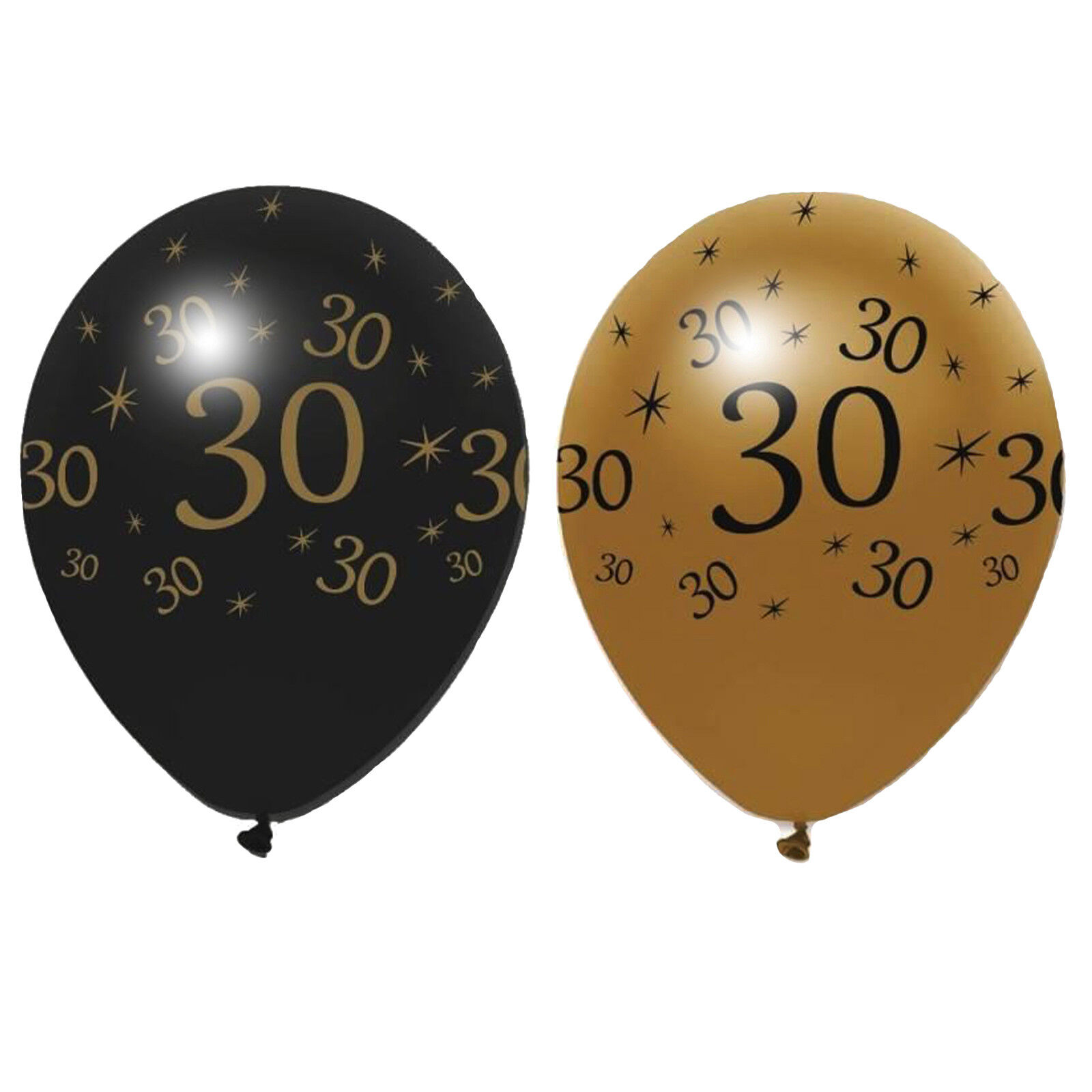 6 x Black /& Gold Latex Balloons 30 Adults 30th Birthday Party Decoration Helium