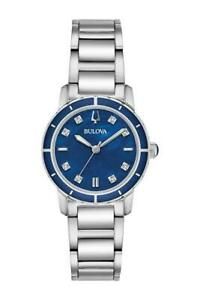 Bulova-Women-039-s-Quartz-96P195-Diamond-Blue-Dial-Silver-Tone-Bracelet-Watch