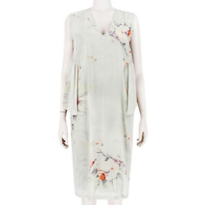 Dries-Van-Noten-Light-Grey-Watercolour-Floral-Silver-Lace-Back-Dress-FR38-UK10